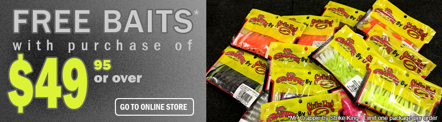 Free Mr. Crappie by Strike King Baits on purchase of $49.95 or over